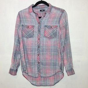 BDG NWT burnout faded plaid shirt