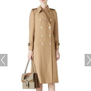 Calvin Kline gold button dbl breasted trenchcoat