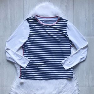 Lands' End Striped Long Sleeve UPF 50 Swim Tee