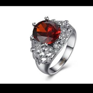 Jewelry - Cubic Zirconia 18K White Gold Plated Ruby Ring