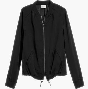 NWT CHICO'S Black Silky Bomber Jacket Small