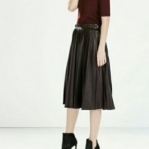 NWOT Zara Vegan Leather Pleated Midi Skirt