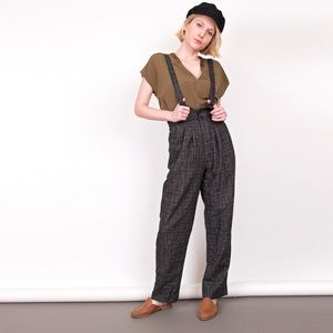 Vintage 80s high waisted suspenders trouser pants