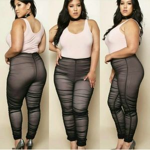 Pants - New plus size ruched mesh leggings
