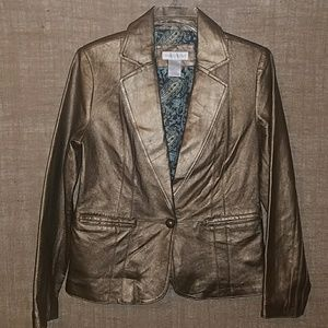 Worthington gold metallic leather jacket