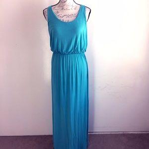 Merona Teal Green Maxi Dress Scoop Neck Medium