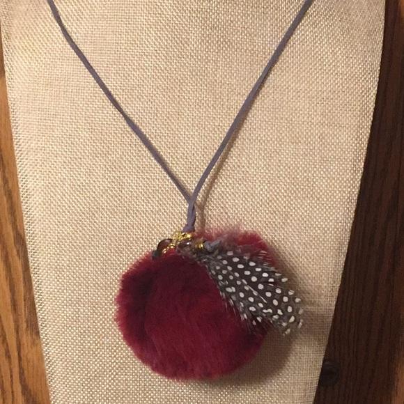 75 off JK Designs Jewelry Dark Red Rabbit Fur Puff Ball