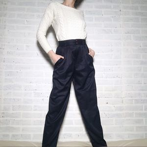 Vintage High-waisted Tapered Trousers with Pleats