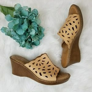 Born Tan Perforated Wedge Sandals Size 10