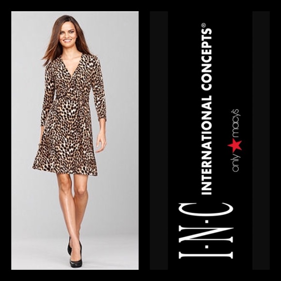 18452d84d97ad INC Leopard Print Wrap-Look Dress 🐆