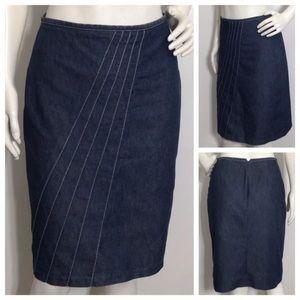 Anthropologie Denim Pencil Skirt Asymmetrical