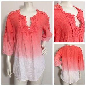 XCVI Pink Ombre Crochet Lace Dye Top Style 11562