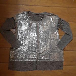 B/W Zara Collection Shiny Silver Shirt Sz Sm