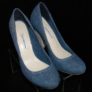 Calvin Klein Jeans 'Ivonne' blue denim heels 6