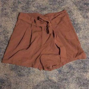 Pleated high waisted shorts