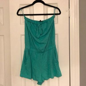 Express strapless turquoise Romper