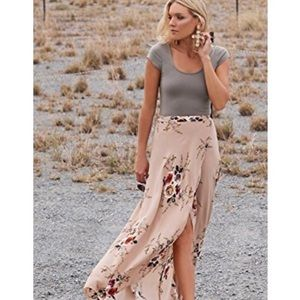 Dresses & Skirts - 'Aaliyah' Beige Floral Print Maxi Skirt