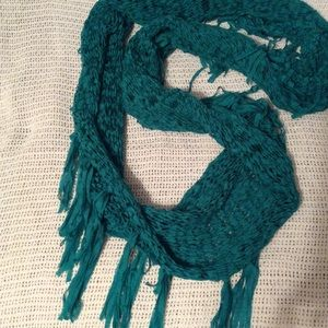 Dark teal infinity scarf with fringes