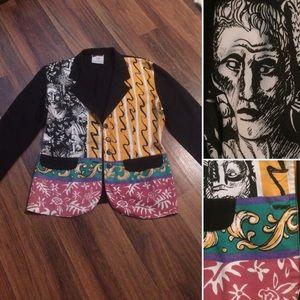 New Listing! Vintage Rayon Printed Blazer