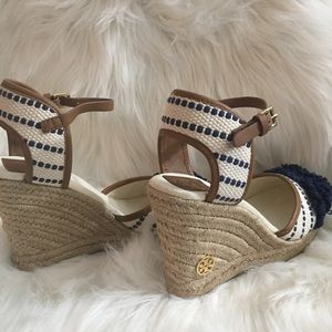 9bf38d96c Tory Burch Shoes - Tory Burch Shaw Striped Espadrille Wedge Pump