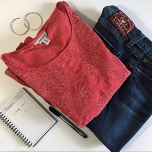 Lucky Brand Red Embroidered Top - Size M