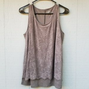 Loft Lace Overlay Tank Top Blouse Grey M Rayon