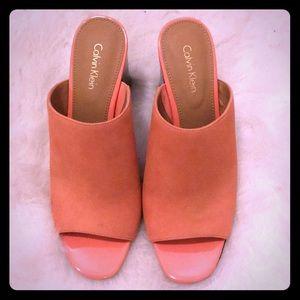 Calvin Klein coral mules- never worn, brand new