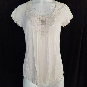 Boden Cream White Crochet Top Size M