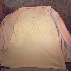 Banana Republic Elegant Ivory Lace Camisole Top L
