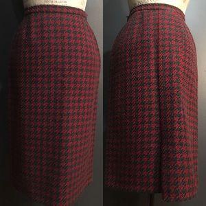 Vintage Wool Houndstooth Pencil Skirt