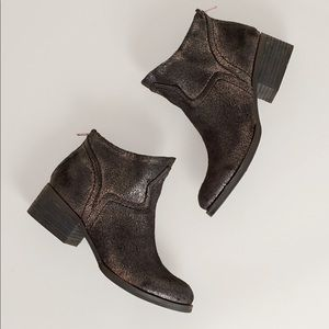Metallic Gold Distressed Ankle Boots