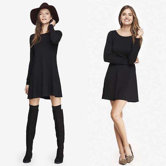 b9c4f0e0ab3 Women's Long Sleeve Zip Back Trapeze Dress - Black