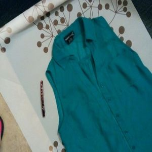 Teal Sheer Collared Button-up Blouse XS
