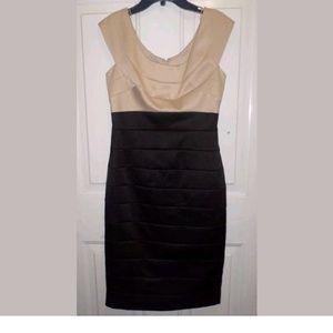 NWT Maggy London Nude/Black Bandage Dress Size 4