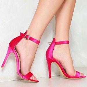 Hot satin pink heels