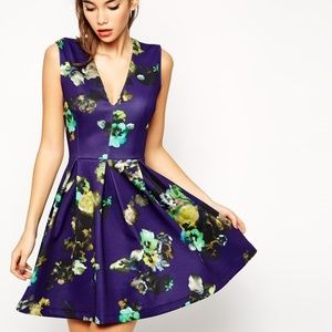 ASOS Skater Dress in Blue Floral with Pleat Detail