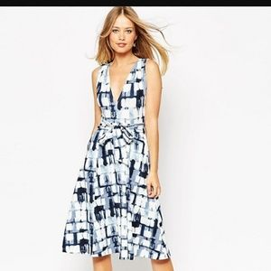 ASOS Midi Dress in Blurred Check with Tie Belt