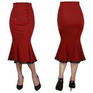 Dresses & Skirts - Pin Up High Waist Lace Edge Fishtail Pencil Skirt