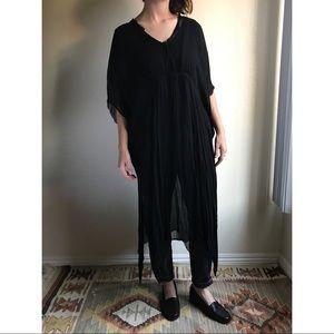 [zara] sheer black tunic overshirt