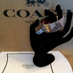 🆕🎁 COACH Leather Python Bangle Bracelet NWT