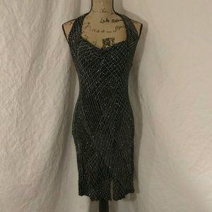 80s Vintage black & silver halter dress.