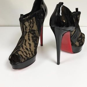 Leather and lace Christian Louboutin booties