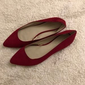 Red Suede Pointed Toe Loafers