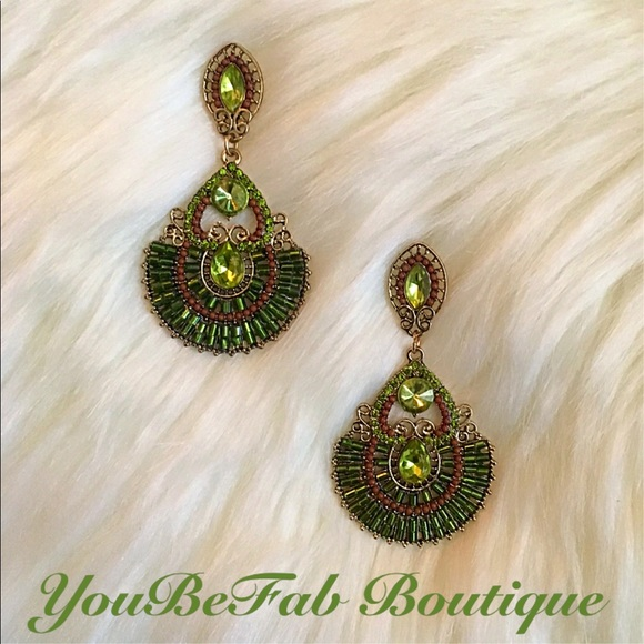 52 off YouBeFab Jewelry Burnished Gold Green Statement
