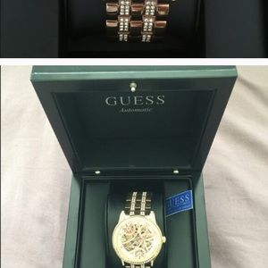 GUESS rose gold dial watch