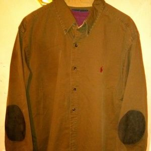 Ralph Lauren POLO heavy shirt with suede elbows