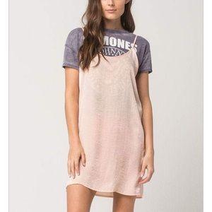 Blush satin slip dress