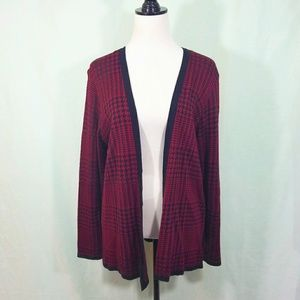 Red open cardigan sweater