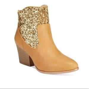 Western Glitter Embellishment Ankle Bootie