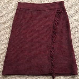 Anthropologie Maeve Fringed Sweater Skirt